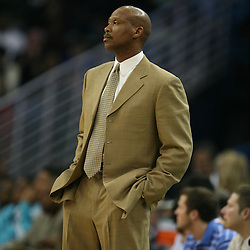 Byron Scott looks on from the sidelines for the New Orleans Hornets against the Phoenix Suns on February 26, 2008 at the New Orleans Arena in New Orleans, Louisiana. The New Orleans Hornets defeated the Phoenix Suns 120-103.