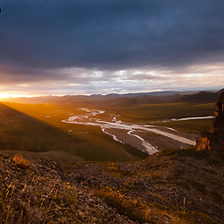 Sunset to the north on the upper Firth River, Ivvavik National Park, Yukon, Canada