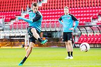 ALKMAAR - 19-10-2016, training persconferentie AZ, AFAS Stadion, AZ speler Robert Muhren, AZ speler Wout Weghorst
