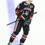 Adam Reid #8 of the Northeastern Huskies pre game  during The Beanpot Championship Game at TD Garden on February 10, 2014 in Boston, Massachusetts. (Photo by Elan Kawesch)
