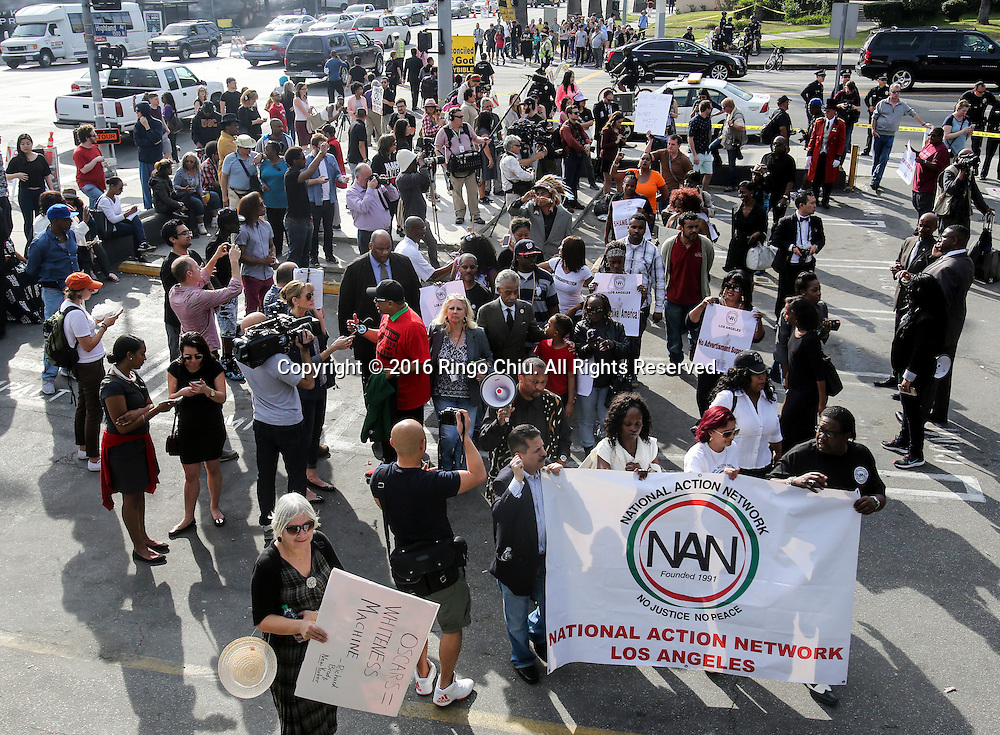 Rev. Al Sharpton leads demonstrators during a rally and march circle to protest the all-white slate of Oscar acting nominees and calling for more diversity in the entertainment industry, Sunday Feb. 28, 2016 in Los Angeles.(Photo by Ringo Chiu/PHOTOFORMULA.com)<br /> <br /> Usage Notes: This content is intended for editorial use only. For other uses, additional clearances may be required.