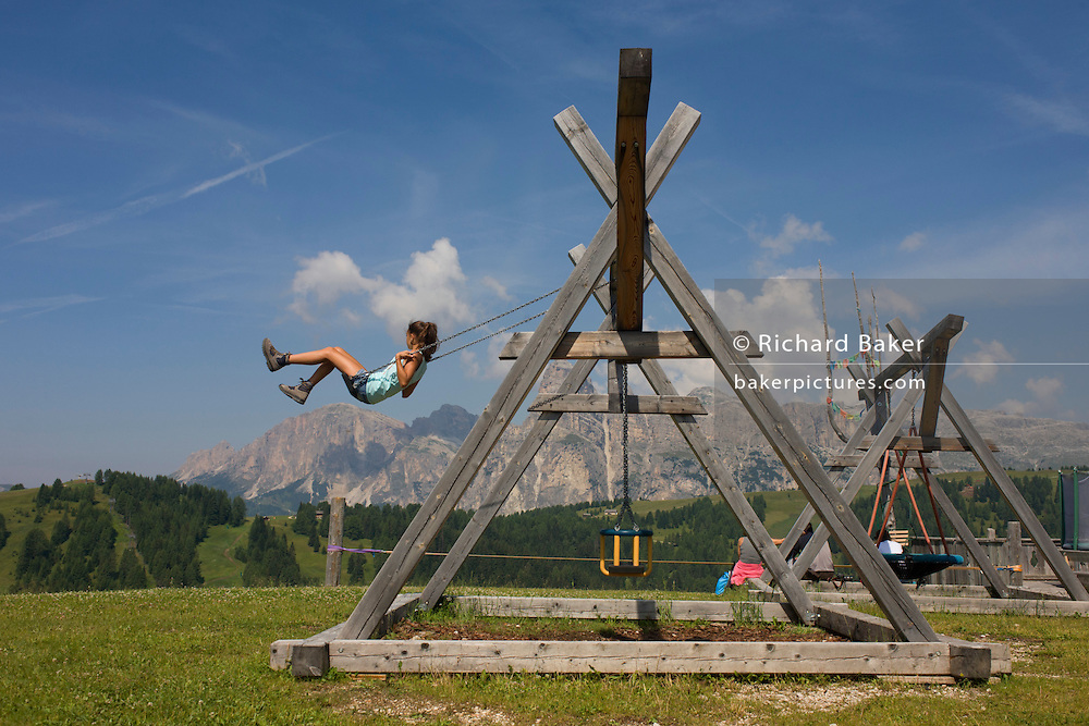Playground near the Piz Sorega cable car station in the Pralongià above San Cassiano-St. Kassian in the Dolomites, south Tyrol, northern Italy