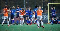 BLOEMENDAAL - Breda heeft gescoord tijdens de competitiewedstrijd hockey jongens B , Bloemendaal JB1-Breda JB1 (3-2)  , COPYRIGHT KOEN SUYK
