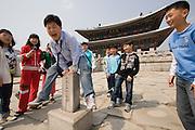 Gyeongbokgung Palace. School kids visiting.