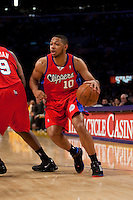 15 January 2010: Guard Eric Gordon of the Los Angeles Clippers drives to the basket against the Los Angeles Lakers during the first half of the Lakers 126-86 victory over the Clippers at the STAPLES Center in Los Angeles, CA.