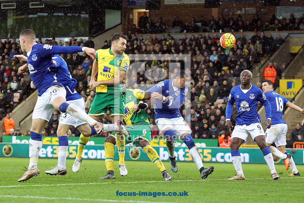 Russell Martin of Norwich heads for goal during the Barclays Premier League match at Carrow Road, Norwich<br /> Picture by Paul Chesterton/Focus Images Ltd +44 7904 640267<br /> 12/12/2015