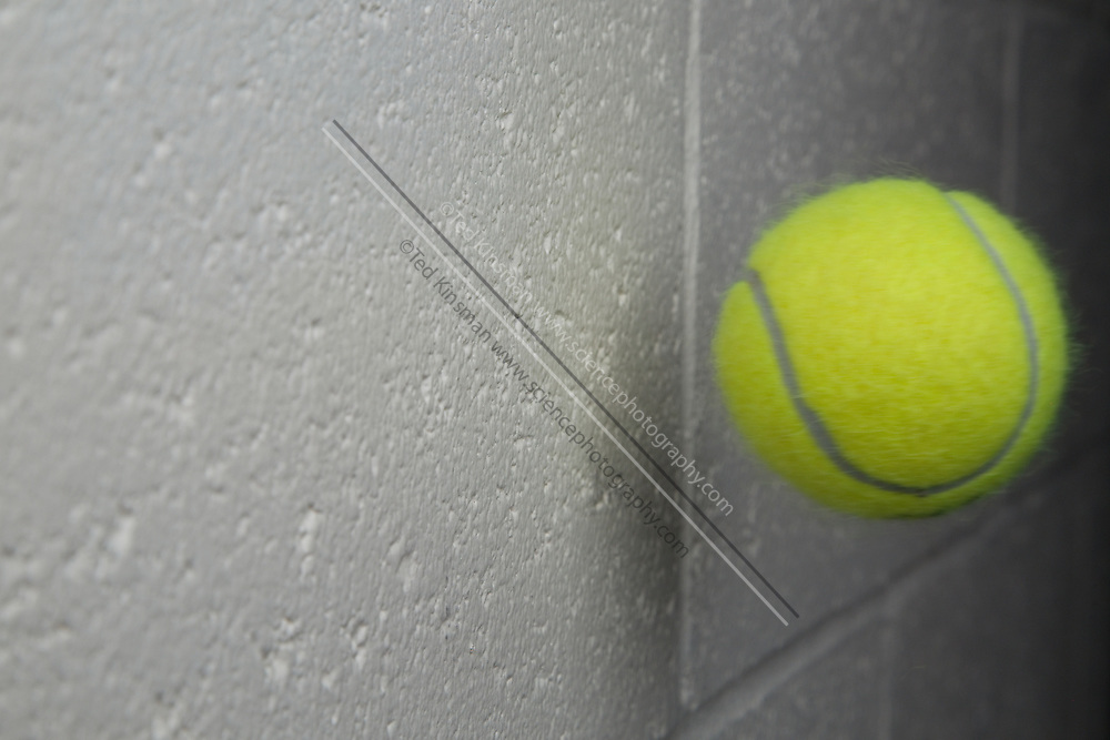 A tennis ball moving at 95 feet per second, or 28.95 meters per second is captured in flight just after a collision with a  cinderblock wall. The tennis ball was launched from an air cannon as is commonly used to practice tennis.