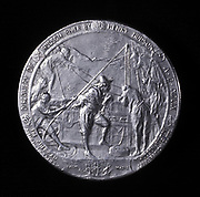 Henry Hudson (c1550-1611) English navigator. Medal showing him ascending the Hudson River to Albany in 1609.