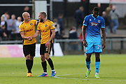 Newport  David Pipe (2) and  Newport  Dan Butler (3) congratulate each other with the 1-0 win at the final whistle during the EFL Sky Bet League 2 match between Newport County and Grimsby Town FC at Rodney Parade, Newport, Wales on 23 September 2017. Photo by Gary Learmonth.