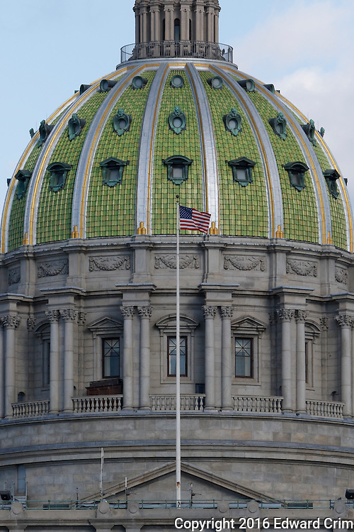 Western elevation of the dome of the Pennsylvania capitol in Harrisburg.