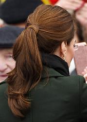 A detailed view of the hair of the Duchess of Cambridge during a Royal visit to Blackpool. Photo credit should read: Doug Peters/EMPICS