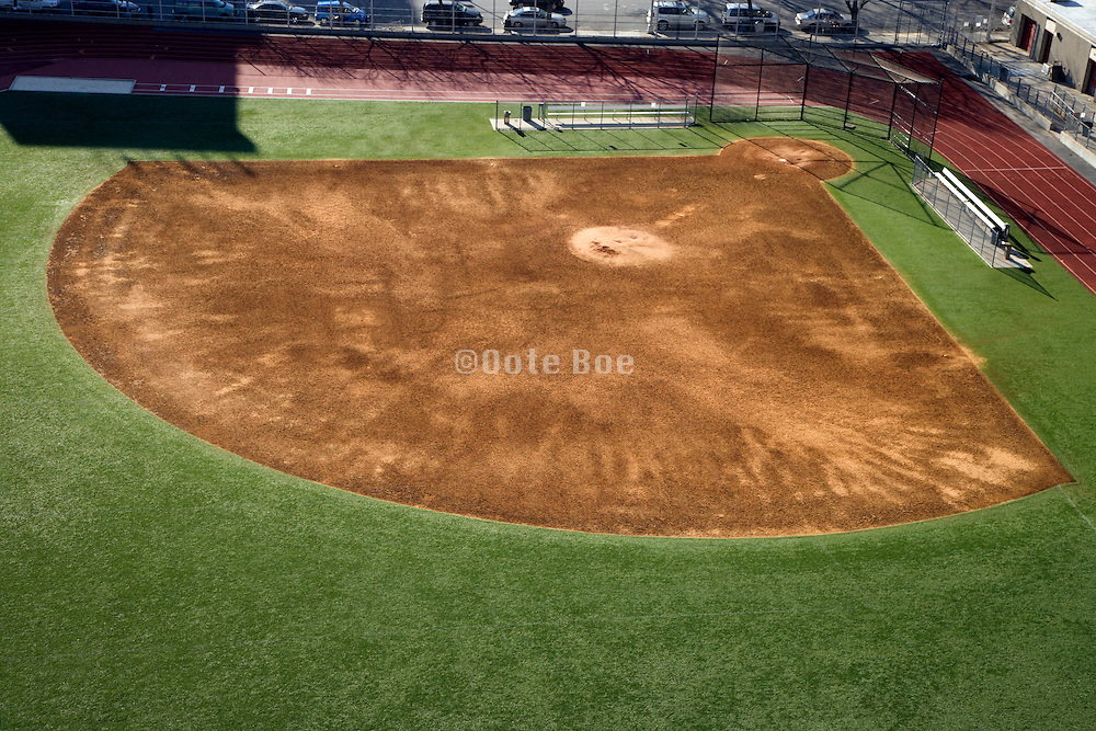 empty baseball field seen from above