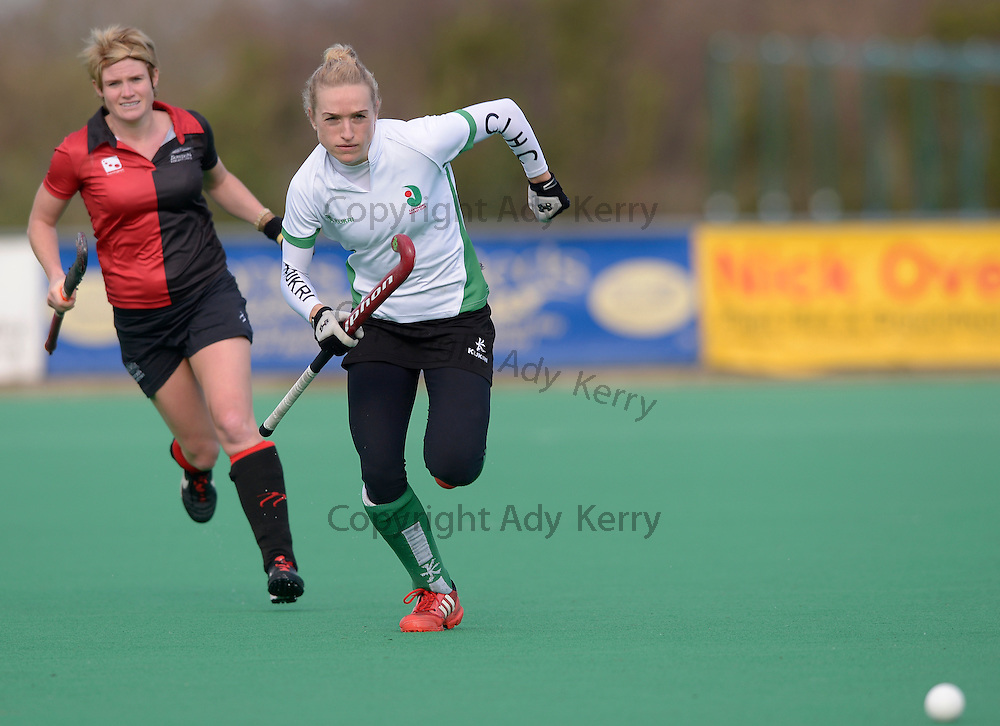 Canterbury's Susie Rowe chases after the ball against Bowdon during their Investec Women's Hockey League Premier Division game at Canterbury HC, 8th February 2014.