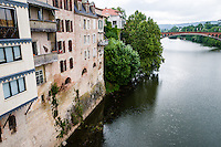 France, Villeneuve-sur-Lot. Old town by the Lot River. The Lot River.