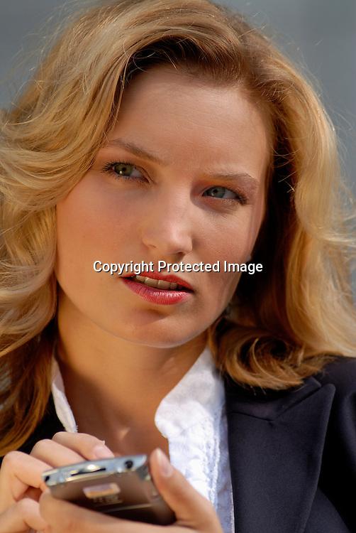 businesswoman with organizer, PDA