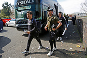 Leeds United midfielder Jack Harrison (22) arriving at the ground during the EFL Sky Bet Championship match between Birmingham City and Leeds United at St Andrews, Birmingham, England on 6 April 2019.