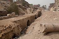 Egypt. Cairo - Salah li din s Walls, northern tower. Garbage area in islamic Cairo  +