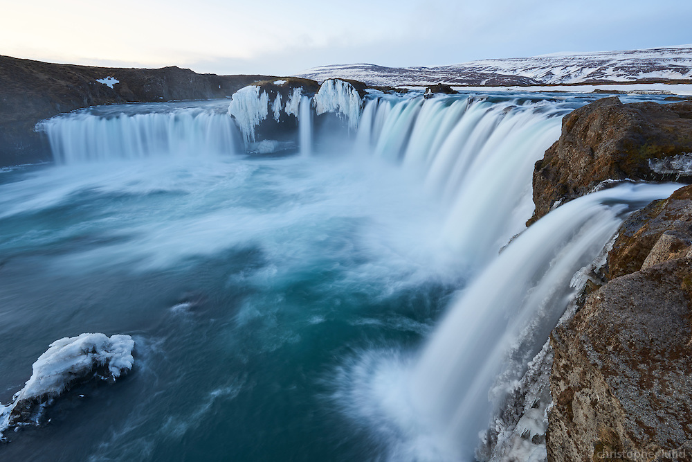 Goðafoss waterfall in winter. North Iceland.