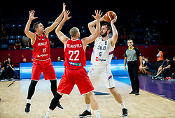 Csaba Ferencz of Hungary and Janos Eilingsfeld of Hungary vs Milan Macvan of Serbia during basketball match between National Teams of Serbia and Hungary at Day 11 in Round of 16 of the FIBA EuroBasket 2017 at Sinan Erdem Dome in Istanbul, Turkey on September 10, 2017. Photo by Vid Ponikvar / Sportida