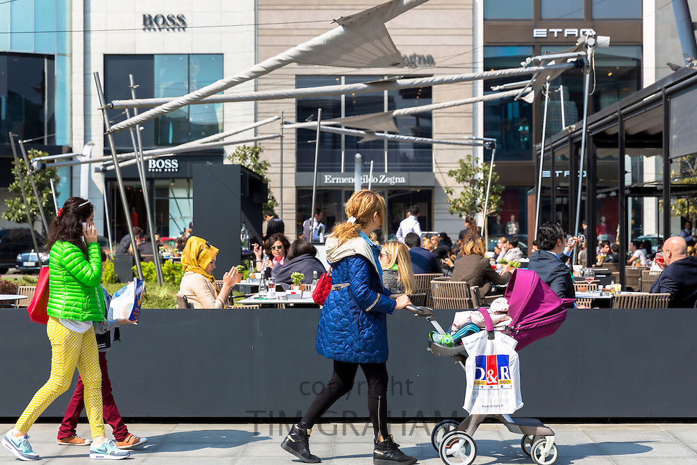 Women and cafe at Istinye Park shopping center mall near Levent financial business district of Istanbul, Turkey