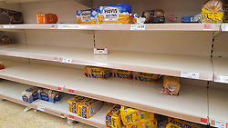 © Licensed to London News Pictures. 12/03/2020. London, UK. Sainsbury's store in London runs low on bread amid an increased number of cases of Coronavirus (COVID-19) in the UK. 590 cases have been tested positive and ten patients have died from the virus in the UK. Photo credit: Dinendra Haria/LNP