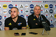 TJ Perenara (L) and coach Chris Boyd looking dejected at the post match press conference after the Hurricanes lose their Super Rugby match, Brumbies V Hurricanes, GIO Stadium, Canberra, Australia, 30th June 2018.Copyright photo: David Neilson / www.photosport.nz