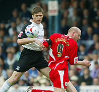 Photo: Chris Ratcliffe.<br />Southend United v Bristol City. Coca Cola League 1. 06/05/2006.<br />Steve Brooker (R) of Bristol City is is beaten by Duncan Jupp of Southend United.