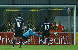 Cruz Campos Jorge Sammir of Dinamo at penalty shot vs Goalkeeper of Domzale Dejan Nemec at 1st football game of 2nd Qualifying Round for UEFA Champions league between NK Domzale vs HNK Dinamo Zagreb, on July 30, 2008, in Domzale, Slovenia. Dinamo won 3:0. (Photo by Vid Ponikvar / Sportal Images)