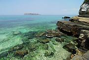 Clear waters in rocky shore at Bolanos island. Las Perlas archipelago, Panama province, Panama, Central America.