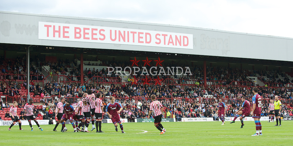 LONDON, ENGLAND - Saturday, August 27, 2011: Tranmere Rovers' Mustafa Tiryaki takes a free kick against Brentford during the Football League match at Griffin Park. (Photo by Gareth Davies/Propaganda)