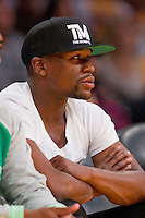 """30 October 2012: Floyd """"Money"""" Mayweather watches the Dallas Mavericks 99-91 victory over the Los Angeles Lakers at the STAPLES Center in Los Angeles, CA."""
