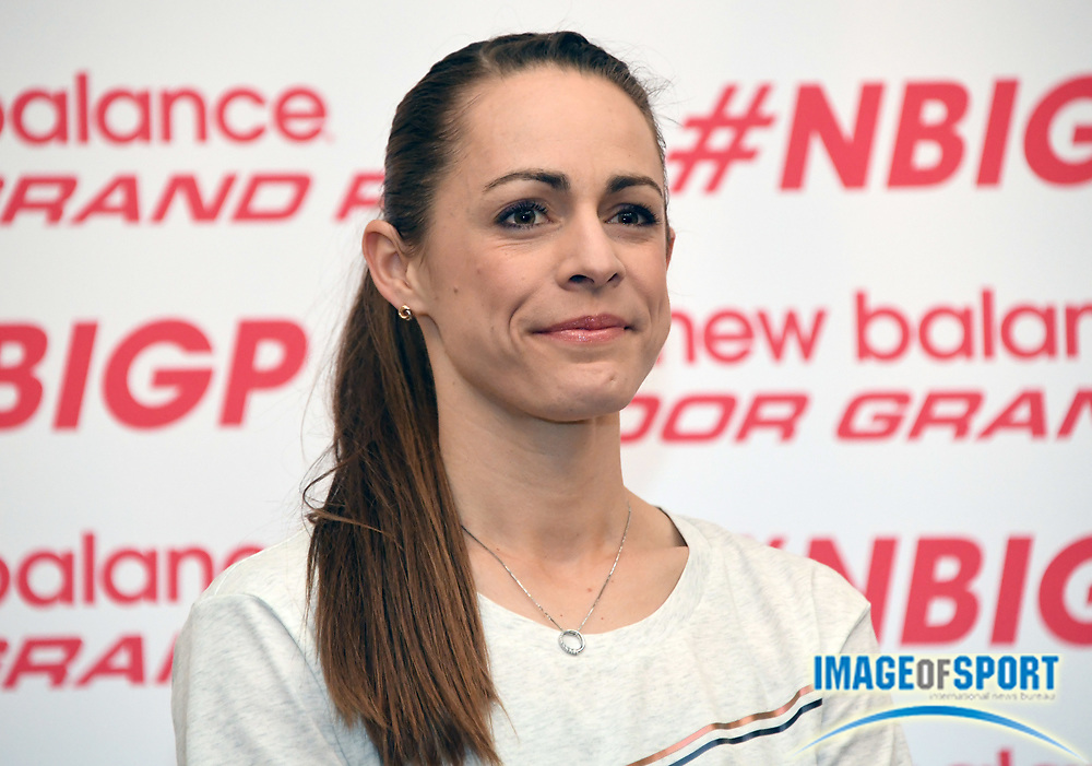 Jenny Simpson aka Jennifer Simpson during a  press conference prior to the New Balance Indoor Grand Prix in Boston on Friday, Feb. 9, 2018.