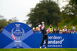 Auchterarder, Scotland, UK. 14 September 2019. Saturday morning Foresomes matches  at 2019 Solheim Cup on Centenary Course at Gleneagles. Pictured; Celine Boutier of Team Europe drives on hole 7. Iain Masterton/Alamy Live News