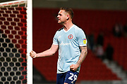Billy Kee of Accrington Stanley celebrates avoiding relegation after the EFL Sky Bet League 1 match between Doncaster Rovers and Accrington Stanley at the Keepmoat Stadium, Doncaster, England on 23 April 2019.