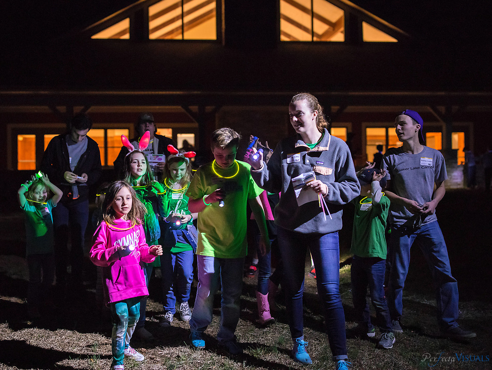Quaker Lake Camp held its annual Flashlight Easter Egg Hunt on March 17. The event is for children in grades kindergarten through fifth. Approximately 120 children participated in the event that included dinner, games, songs, crafts, a devotion, and the egg hunt. The event was led by the 2018 Quaker Lake Camp staff.<br /> <br /> Photographed, Saturday, March 17, 2018, in Greensboro, N.C. JERRY WOLFORD  / Perfecta Visuals