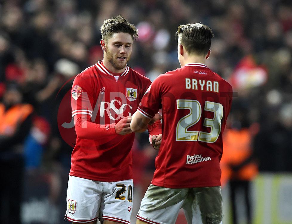 Wes Burns of Bristol City celebrates with Joe Bryan of Bristol City  - Mandatory byline: Joe Meredith/JMP - 16/01/2016 - FOOTBALL - Ashton Gate - Bristol, England - Bristol City v Middlesbrough - Sky Bet Championship
