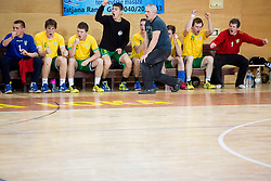 Robi Bradesko, head coach of RD Loka and other players react during handball match between RD Loka and RK Slovenj Gradec in 21st Round of 1B DRL  league 2013/14 on May 10, 2014, in Sportna dvorana Poden, Skofja Loka, Slovenia. Photo by Vid Ponikvar / Sportida
