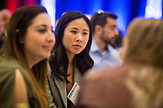 Kimberly Lim of JFrog socializes during the Bay Area Corporate Counsel Awards at The Westin San Francisco Airport in Millbrae, California, on March 18, 2019. (Stan Olszewski for Silicon Valley Business Journal)