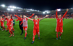 SOUTHAMPTON, ENGLAND - Friday, April 6, 2018: Wales' Jessica Fishlock and her team-mates celebrate after a hard fought goal-less draw against England during the FIFA Women's World Cup 2019 Qualifying Round Group 1 match between England and Wales at St. Mary's Stadium. Natasha Harding and Loren Dykes. (Pic by David Rawcliffe/Propaganda)