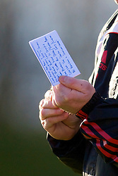 LIVERPOOL, ENGLAND - Tuesday, January 11, 2011: Liverpool's Reserve team manager John McMahon with his notes during the FA Premiership Reserves League (Northern Division) match against Sunderland at the Kirkby Academy. (Pic by: David Rawcliffe/Propaganda)