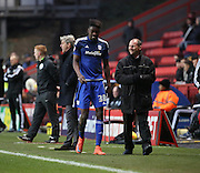 Cardiff City midfielder, Sammy Ameobi (38) walking off after being sent off during the Sky Bet Championship match between Charlton Athletic and Cardiff City at The Valley, London, England on 13 February 2016. Photo by Matthew Redman.