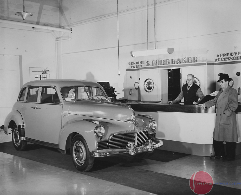 1946 Studebaker Skyway Champion in a Studebaker dealer's parts department.