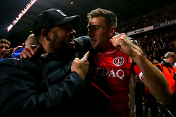 Ben Purrington of Charlton Athletic celebrates with fans after beating Doncaster Rovers on penalties in the Sky Bet League One Playoff Semi Final  - Mandatory by-line: Robbie Stephenson/JMP - 17/05/2019 - FOOTBALL - The Valley - Charlton, London, England - Charlton Athletic v Doncaster Rovers - Sky Bet League One Play-off Semi-Final 2nd Leg