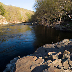 The Farmington River in Tariffville, Connecticut.  Tariffville Gorge.  Spring.