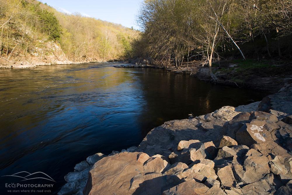 The Farmington River in Tariffville, Connecticut.  Tariffville Gorge.  Spring.