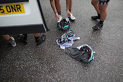 Soaked cycling clothing at the Drops Cycling Team team camper after finishing the 97,1 km second stage of the 2016 Ladies' Tour of Norway women's road cycling race on August 13, 2016 between Mysen and Sarpsborg, Norway. (Photo by Balint Hamvas/Velofocus)