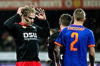 ROTTERDAM - SBV Excelsior - Feyenoord , Voetbal , Seizoen 2015/2016 , Eredivisie , Stadion Woudestein , 28-11-2015 , Excelsior speler Tom van Weert (l) baalt van gemiste kans
