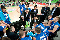 Head Coach of Buducnost Dejan Radonjic talking to his players during first semi-final match of Basketball NLB League at Final four tournament between KK Partizan Belgrade, Serbia and KK Buducnost Podgorica, Montenegro, on April 19, 2011 at SRC Stozice, Ljubljana, Slovenia. (Photo By Matic Klansek Velej / Sportida.com)