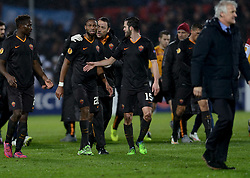 26-02-2015 NED: Europa League Feyenoord - AS Roma, Rotterdam<br /> In the photo Seydou Keita #20, Miralem Pjanic #15