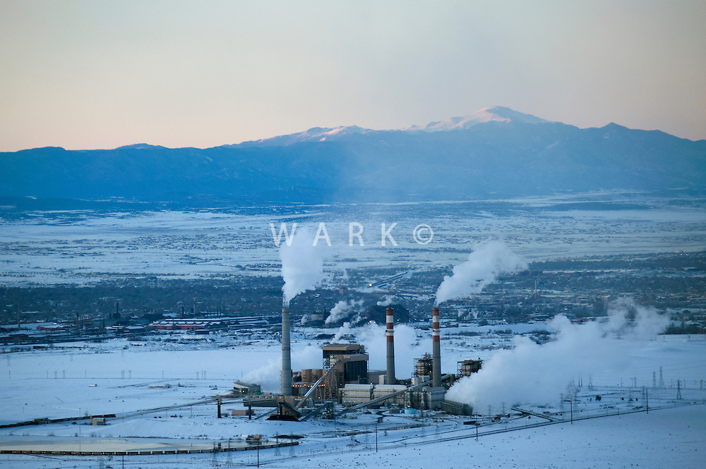 Comanche plant and Pikes Peak on winter evening